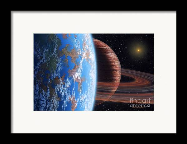 lynette Cook Framed Print featuring the painting Hd 177830 B And Moon by Lynette Cook