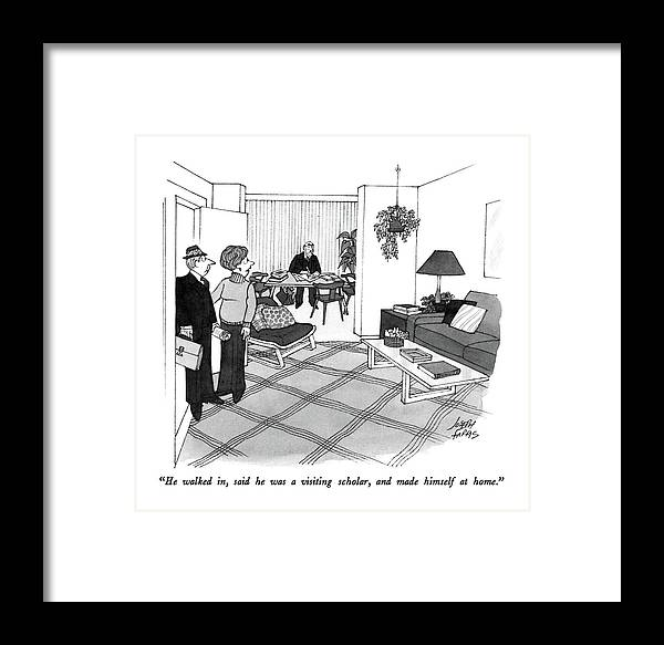 Wife To Husband Who Has Just Walked In Framed Print featuring the drawing He Walked by Joseph Farris