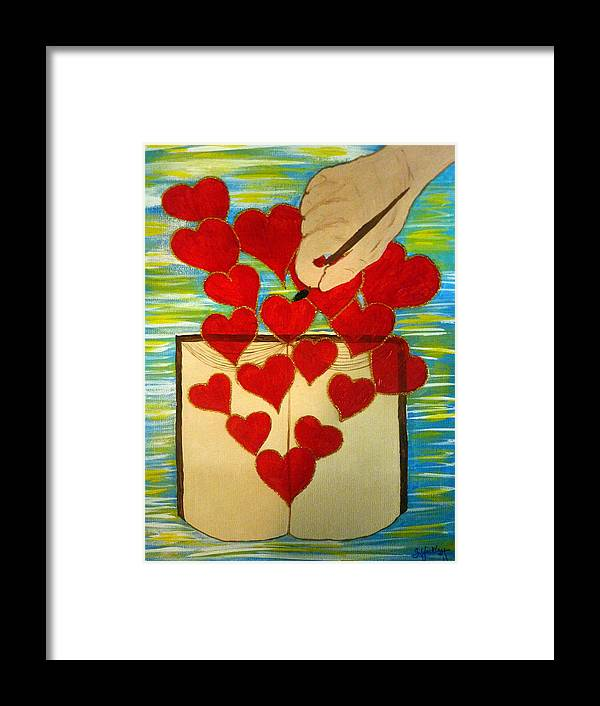 Heart Framed Print featuring the painting He Writes His Word On Our Heart by Sheila Yackley Prophetic Pieces