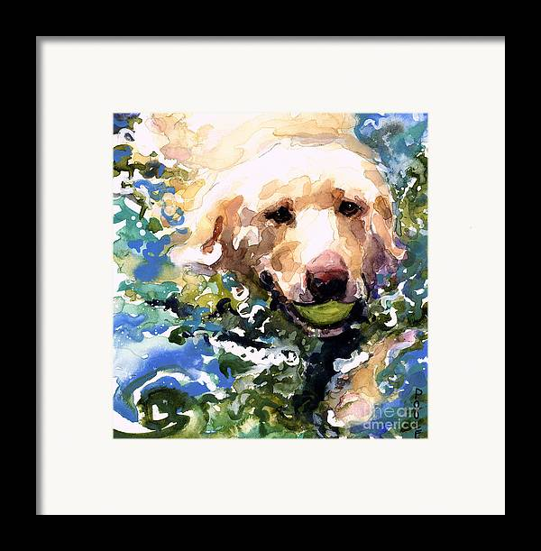 Water Retrieve Framed Print featuring the painting Head Above Water by Molly Poole