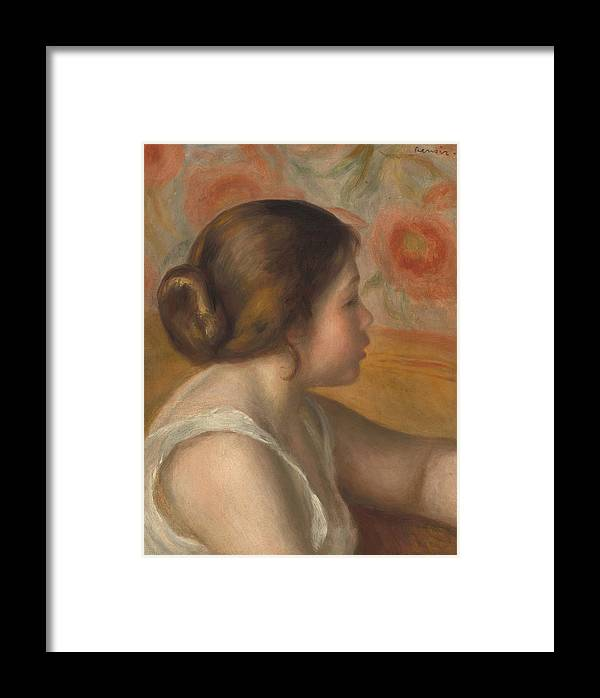Auguste Renoir Framed Print featuring the painting Head Of A Young Girl by Auguste Renoir