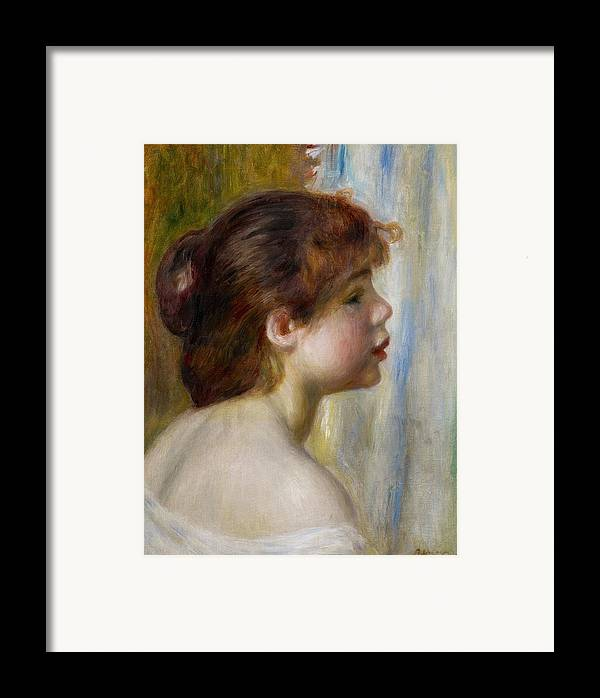 Renoir Framed Print featuring the painting Head Of A Young Woman by Pierre Auguste Renoir