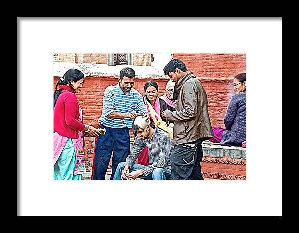 Head Shaving Ceremony At Hindu Festival Of Ram Nawami In Kathmandu-nepal  Framed Print