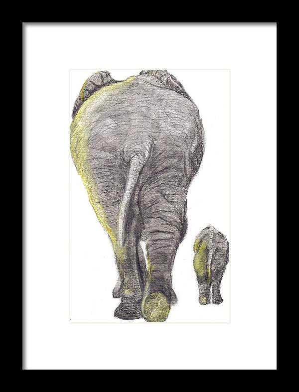 Elephants Framed Print featuring the painting Heading Home by Catherine Swerediuk
