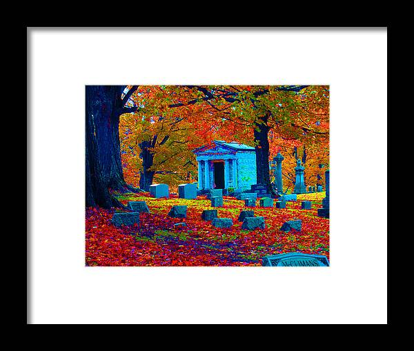 Graveyard Framed Print featuring the digital art Headstone Fall by Joseph Wiegand