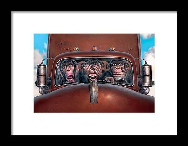 Monkeys Framed Print featuring the digital art Hear No Evil See No Evil Speak No Evil by Mark Fredrickson