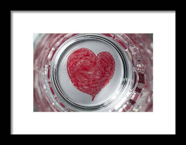 Heart Framed Print featuring the photograph Heart In Mug Abstract 1 B by John Brueske