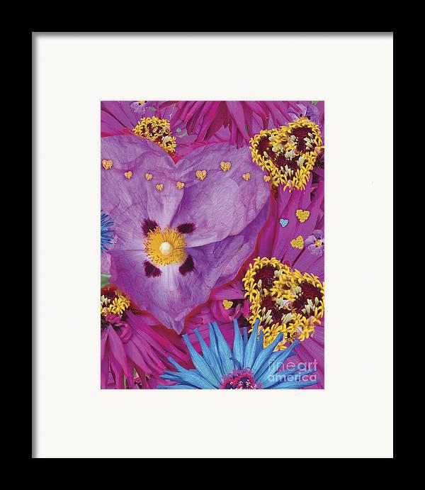 Abstract Framed Print featuring the digital art Heart Juxtaposition by Alixandra Mullins