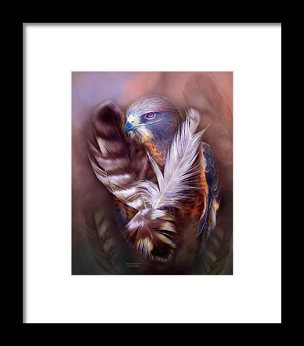 Hawk Framed Print featuring the mixed media Heart Of A Hawk by Carol Cavalaris