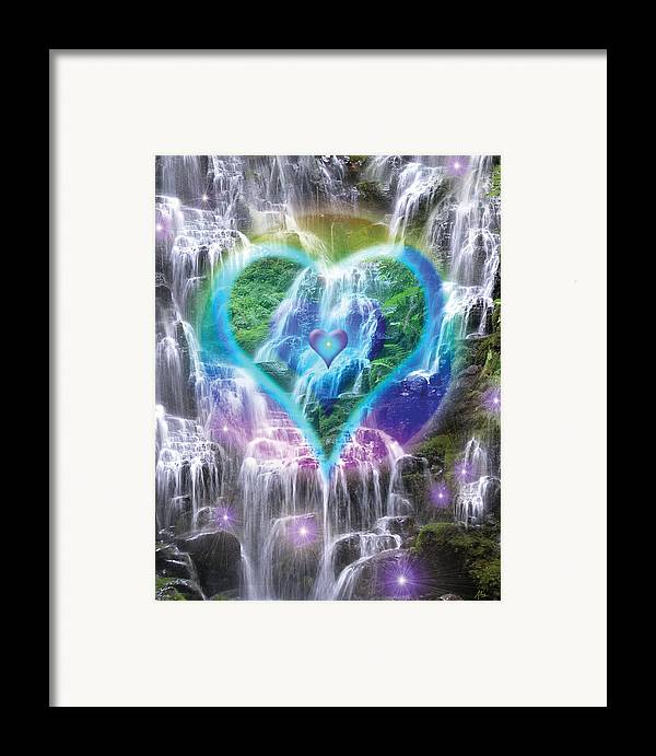 Heart Of Waterfalls Framed Print featuring the photograph Heart Of Waterfalls by Alixandra Mullins