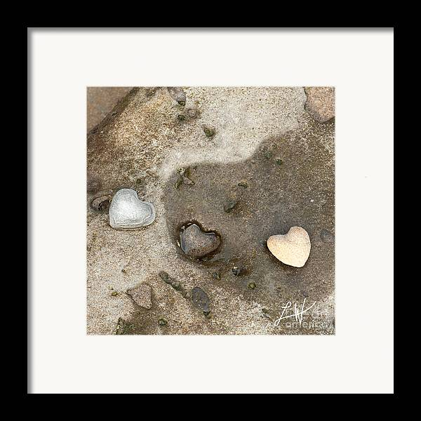 Heart Rocks Framed Print featuring the photograph Heart Rock Love by Artist and Photographer Laura Wrede