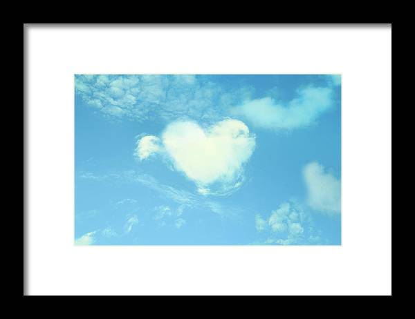 Outdoors Framed Print featuring the photograph Heart-shaped Cloud by Yurif