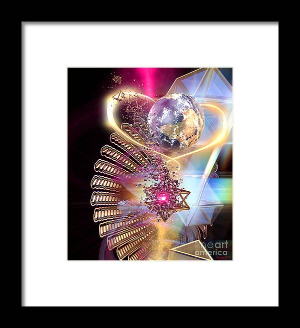 Framed Print featuring the digital art Heartworld1 by Arcane Paradigm