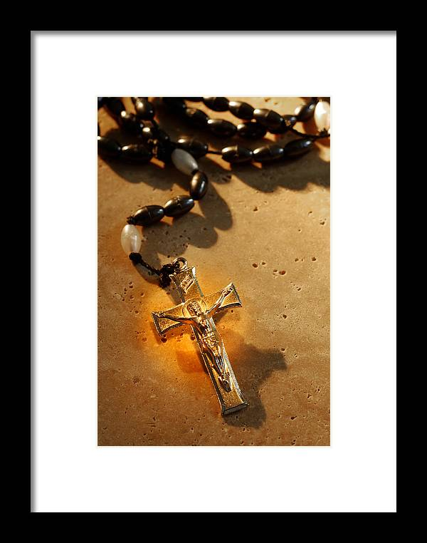 Rosary Framed Print featuring the photograph Heavenly Light Rosary by Norman Pogson