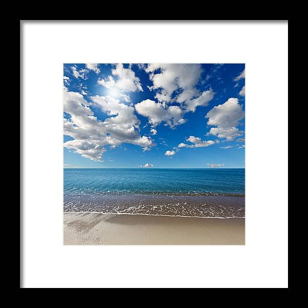 Background Framed Print featuring the photograph Heavenly Beach Under The Blue Sky by Constantinos Iliopoulos