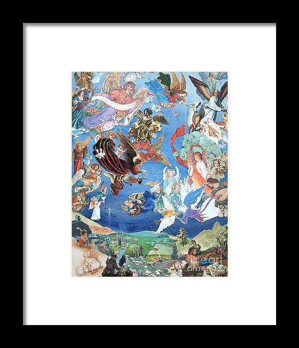 Landscape Framed Print featuring the mixed media Heavenly Host - Two - Sold by Judith Espinoza