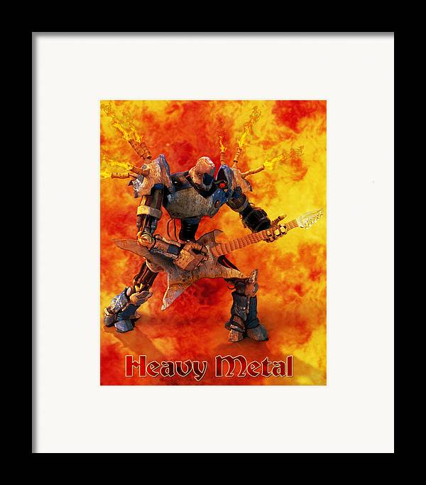 Metal Framed Print featuring the digital art Heavy Metal by Frederico Borges