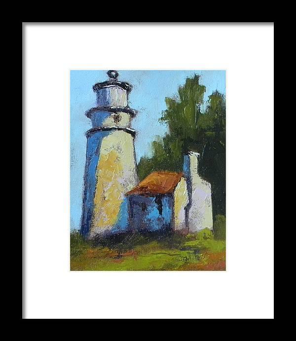 Art Framed Print featuring the painting Heceta Head Light - Oregon Landscape by Fiorenza Gorini