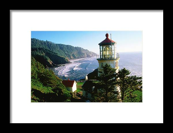 Shadow Framed Print featuring the photograph Heceta Head Lighthouse by John Elk