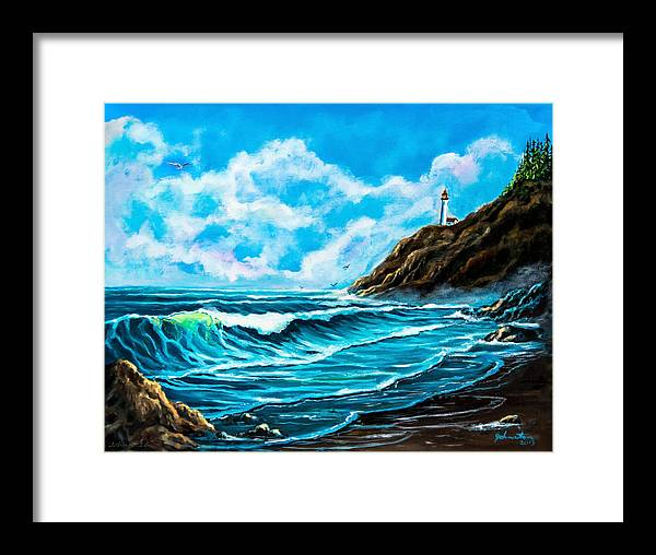 America Framed Print featuring the painting Heceta Head Lighthouse Oregon Coast Original Painting Forsale by Bob and Nadine Johnston
