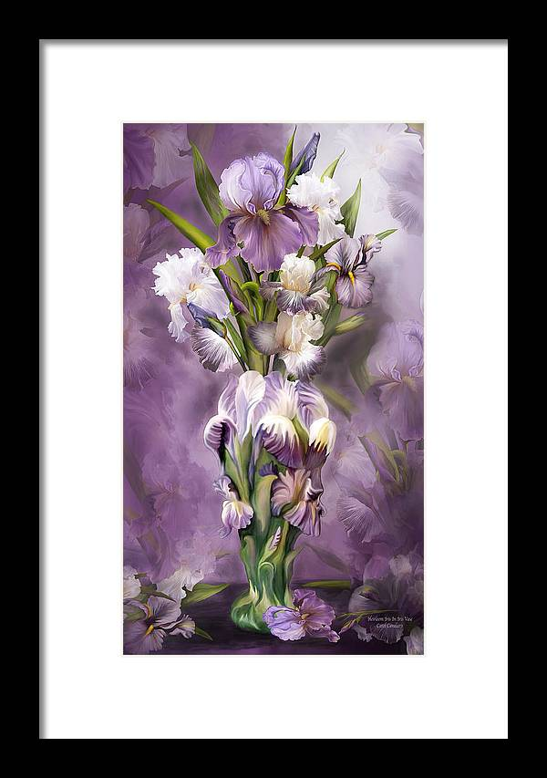 Heirloom Iris Framed Print featuring the mixed media Heirloom Iris In Iris Vase by Carol Cavalaris