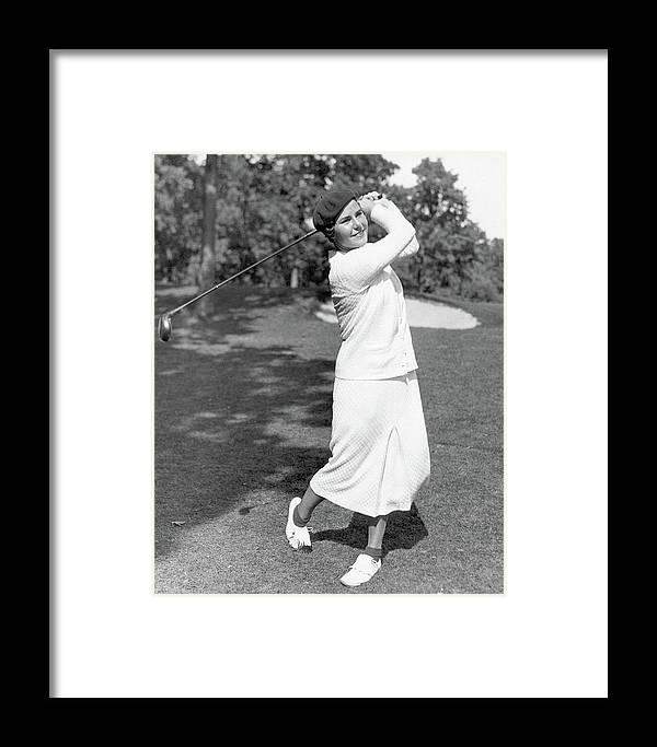 Helen Hicks Playing Golf Framed Print by Acme