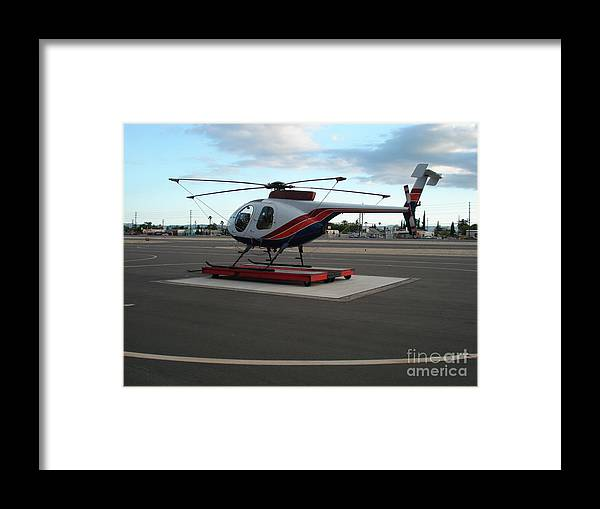 Helicopter Getaway Framed Print featuring the photograph Helicopter getaway by De La Rosa Concert Photography
