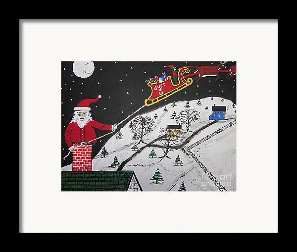 Framed Print featuring the painting Help Santa's Stuck by Jeffrey Koss