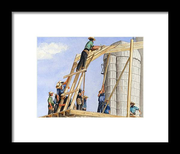 Amish Framed Print featuring the painting Helping Hands Helping Hearts by John W Walker