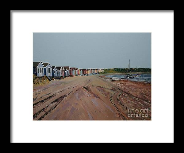 Beach Hut Framed Print featuring the painting Hengistbury Beach Huts by Linda Monk