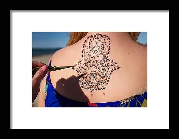 3bdb6c7f6 Hinduism Framed Print featuring the photograph Henna Tattoo Mehendy Painted  On Back Hamsa by Melanjurga