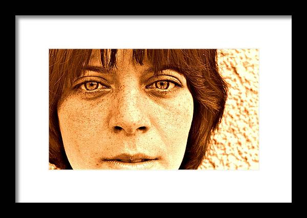 Portrait Framed Print featuring the photograph Her Eyes Her Lips Her Freckles by ITI Ion Vincent Danu