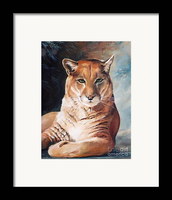 Cougar Framed Print featuring the painting Her Majesty by Suzanne Schaefer