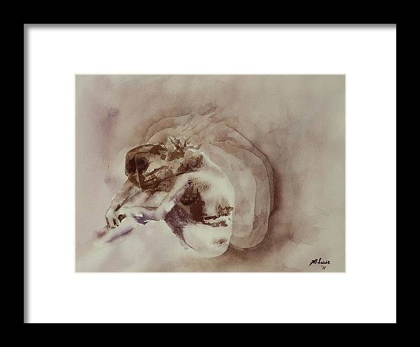 Watercolor Framed Print featuring the painting Her Shadows by Joyce Ann Burton-Sousa