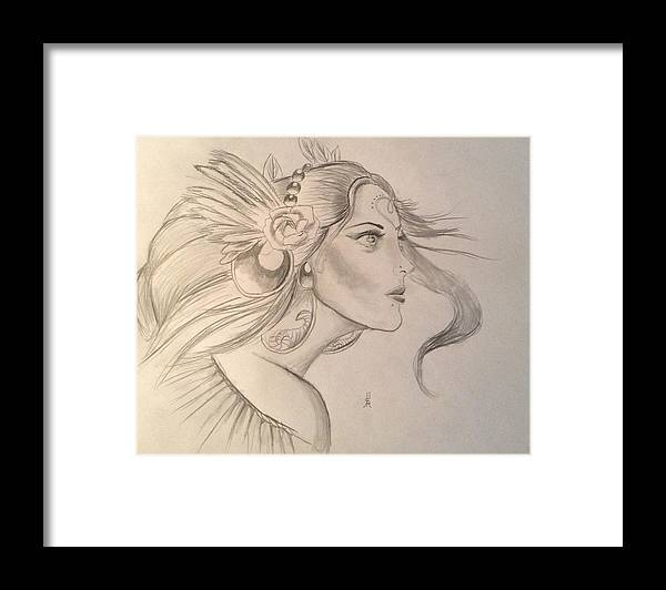 Hera Framed Print featuring the drawing Hera by Shelby Rawlusyk
