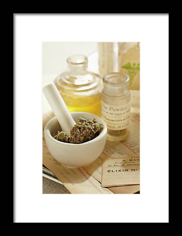 Mortar And Pestle Framed Print featuring the photograph Herbal Medicine by Lew Robertson