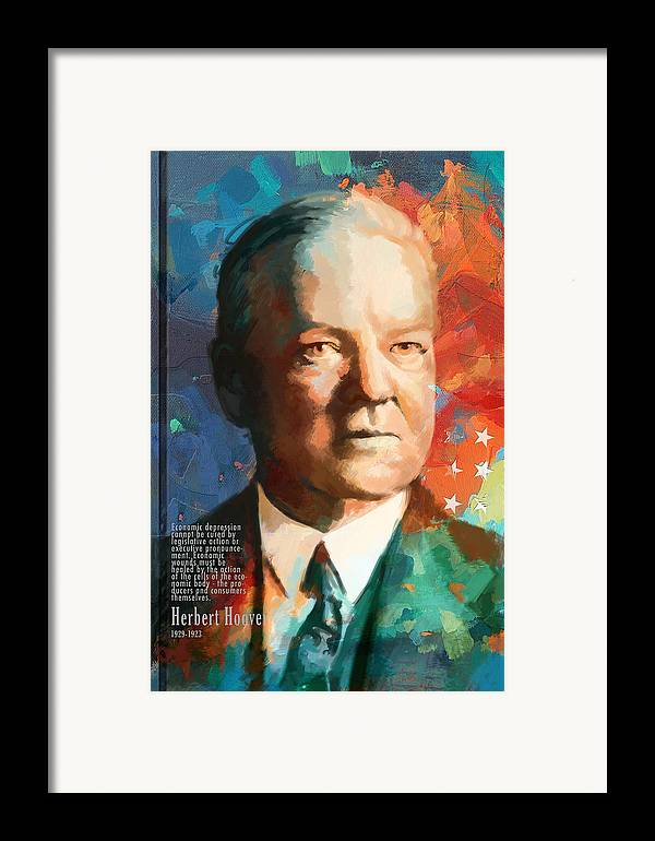 Herbert Hoover Framed Print featuring the painting Herbert Hoover by Corporate Art Task Force