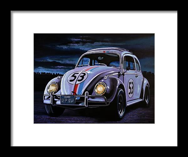 Herbie Framed Print featuring the painting Herbie The Love Bug Painting by Paul Meijering