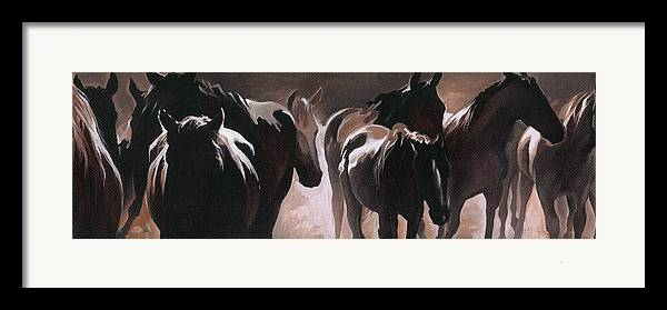 Herd Of Horses Framed Print featuring the painting Herd Of Horses by Natasha Denger