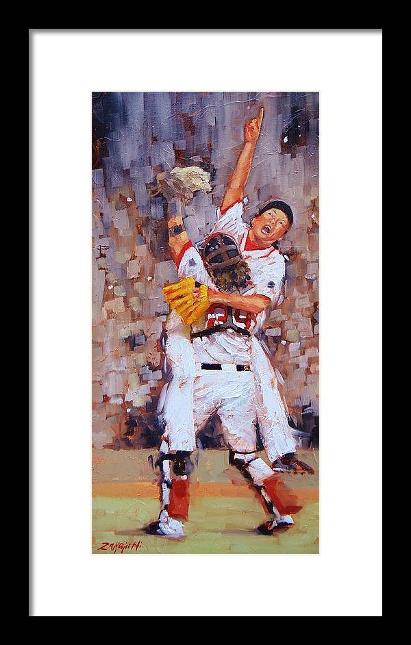 Boston Red Sox Framed Print featuring the painting Here We Come by Laura Lee Zanghetti