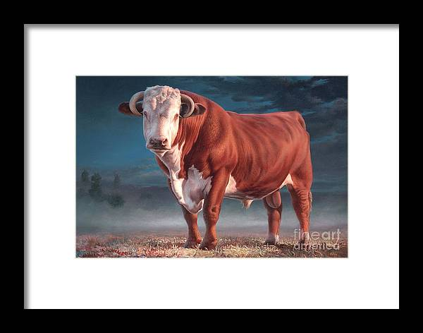 Hereford Bull Framed Print featuring the painting Hereford Bull by Hans Droog