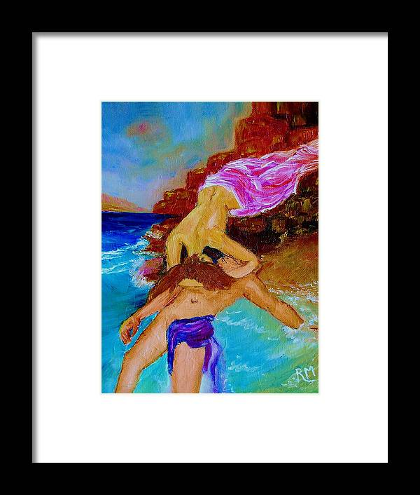 Male Figure Framed Print featuring the painting Hero And Leander by Robin Monroe