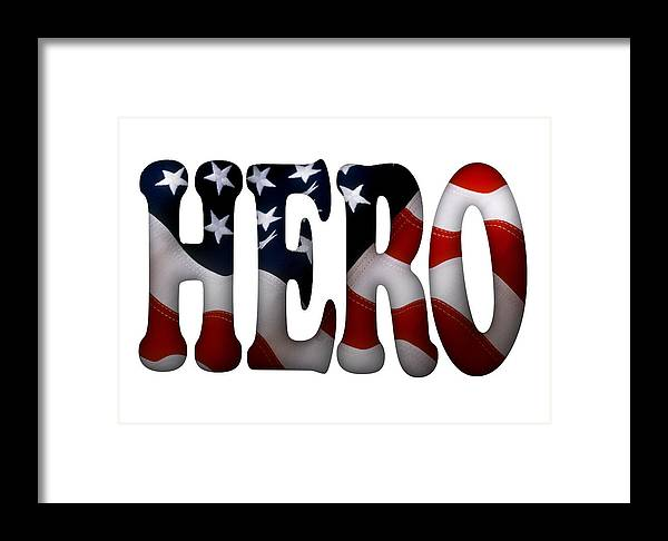 Hero Framed Print featuring the painting Hero Typography 2 Image On Text by Georgeta Blanaru