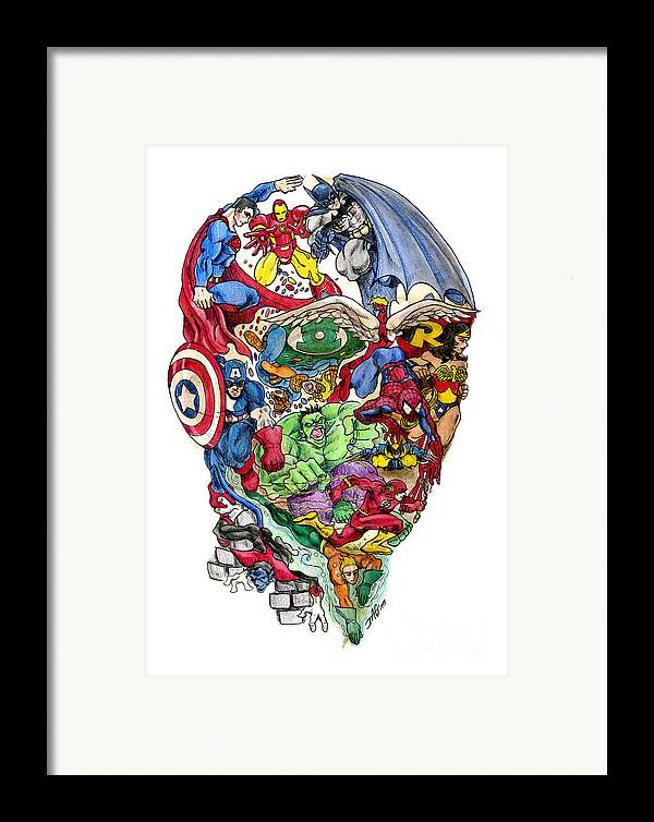 Surreal Framed Print featuring the drawing Heroic Mind by John Ashton Golden