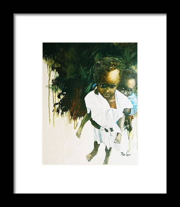Portrait Framed Print featuring the painting He's My Brother by Ron Lace