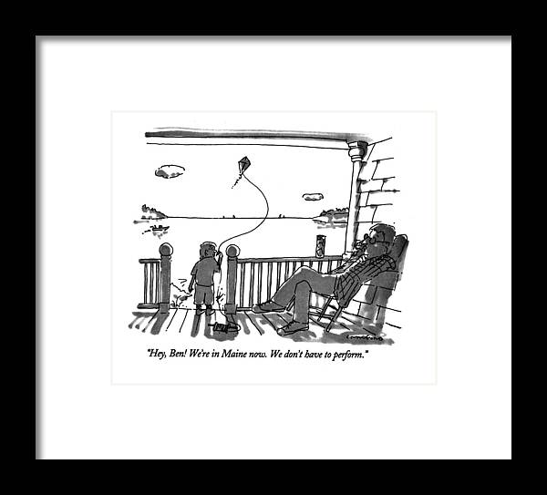 (father Talking To Child Flying Kite) Vacations Framed Print featuring the drawing Hey, Ben! We're In Maine Now. We Don't by Michael Crawford