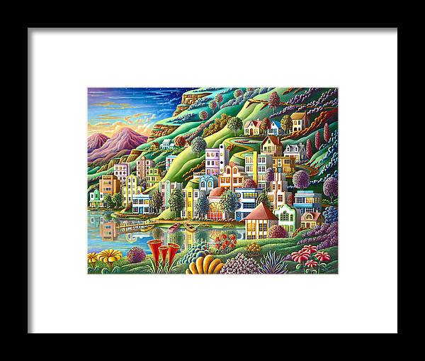 Painting Framed Print featuring the painting Hidden Harbor by MGL Meiklejohn Graphics Licensing