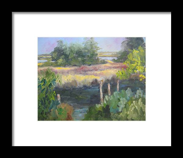 Marsh Framed Print featuring the painting Hidden Mooring by Susan Richardson