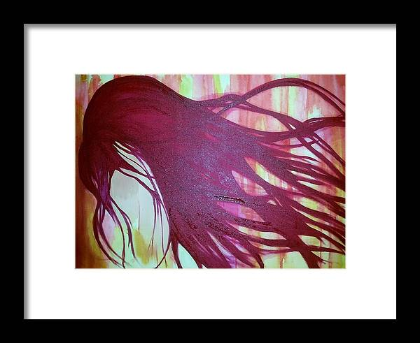 Potrait Framed Print featuring the painting Hidden Pain by Faria Ehsan