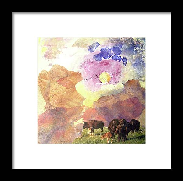 Buffalo Framed Print featuring the mixed media Hidden Plateau by MtnWoman Silver